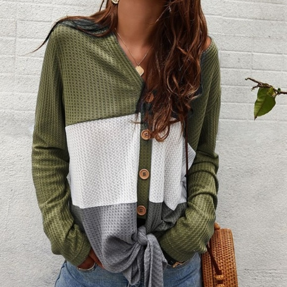 c+d+m Tops - Color Block Waffle Knit Long sleeve Top